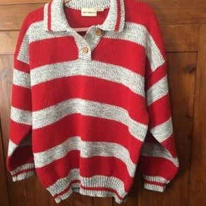 Vintage 1980's Oversized Striped Tomboy Sweater